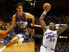 John Stockton (12) & Karl Malone (32): The NBA Jersey Buyers Guide - The mountain-view jerseys that Karl Malone and John Stockton wore during the Jazz' two consecutive trips to the NBA Finals in 1997 and '98 are an all-time classic.