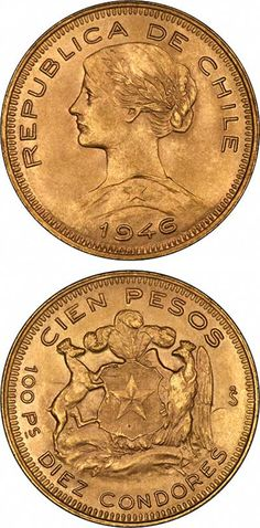 Chilean 100 Pesos Gold Coins.1946. #coins #currency #money
