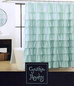 Cynthia Rowley Light Aqua Blue Turquoise Shabby Chic Ruffled Tiers Fabric Shower Curtain Gypsy