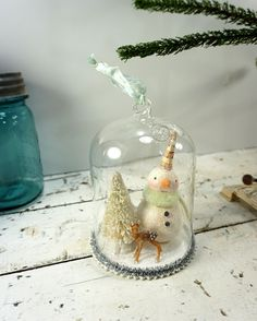 Christmas Decoration // Snowman // Folk Art // by CatandFiddlefolk
