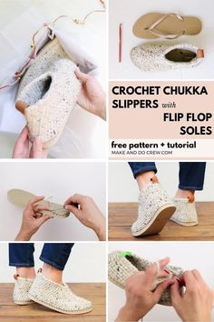 Check out the newest flip flop crochet pattern from Make & Do Crew! These chukka-style crochet slipper boots with flip flop soles are pure happiness on your feet! Squishy, non-slip soles + cozy crochet fabric make these your future favorite footwear for inside or outside. Get the free pattern and detailed photo and video tutorials featuring Lion Brand Wool-Ease Thick & Quick. Crochet Sole, Easy Crochet Slippers, Crochet Slipper Boots, Crochet Slipper Pattern, Crochet Fabric, Diy Crochet, Knit Slippers Free Pattern, Knit Shoes, Crochet Flip Flops