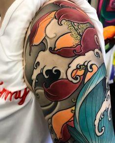 Japanese tattoo sleeve by @max_titanic. Swipe to the side to see all 5 photos! #japaneseink #japanesetattoo #irezumi #tebori #colortattoo #colorfultattoo #cooltattoo #largetattoo #armtattoo #tattoosleeve #girltattoo #tattooedgirl #fishtattoo #koitattoo #flowertattoo #lotustattoo #newschool #newschooltattoo #blackwork #blackink #blacktattoo #wavetattoo #naturetattoo Japanese Flower Tattoo, Flower Tattoo Arm, Japanese Tattoo Designs, Tattoo Designs Men, Arm Sleeve Tattoos, Japanese Sleeve Tattoos, Hand Tattoos, Tattoo Brazo, Manga Tattoo