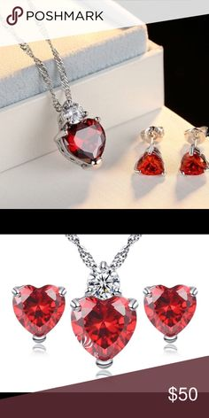 VALENTINES DAY SALE 💕Red Heart 925 CZ Jewelry Set VALENTINES DAY SALE!  HAPPY VALENTINES DAY LOVE 💕 BIRDS🐦! TODAYS SALE! IS HALF OFF ALL JEWELRY IN MY CLOSET! Here we have a Luxury Red Heart 925 CZ Jewelry Set & w/White Gold Plated. Beautiful twisted 925 sterling silver chain. The red heart charm is a perfect piece for this necklace. So elegant I must say. Trying to get the matching ring also, but haven't yet. PERFECT GIFT FOR VALENTINES DAY. If you have Any questions please feel free to…