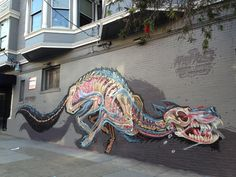 Anatomical Murals of Bisected Animals by Street Artist Nychos | Colossal