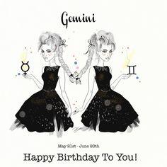Gemini Gemelli Birthday Card Greeting Card by DannyCaranStudio