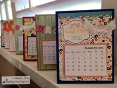 I've been Busy making these calendars for my friends & family for the new year. Oh My Goodies, flowerpot designer Series paper. All Stampin Up!