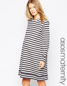 Image 1 of ASOS Maternity Stripe Sweat Dress
