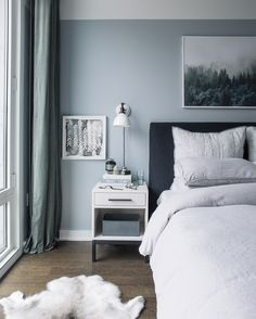 Blue and Grey Bedroom Color Schemes . Blue and Grey Bedroom Color Schemes . See What the Behr 2019 Color Of the Year Blueprint Can Do Black And Grey Bedroom, Grey Bedroom Design, Grey Bedroom Decor, Home Bedroom, Modern Bedroom, Light Gray Bedroom, Bedroom Designs, Gray Blue Bedrooms, Bedroom Ideas
