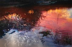 A series of waterscape paintings on abraded and polished aluminum. The light is reflected from the metal surface and at the same time absorbed by the painted areas making the painting appear holographic.