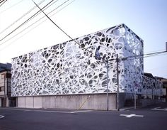 Thom Faulders has created an exterior building skin for a new four storey multi-family dwelling unit with photography studios in Tokyo, Japan designed by Hajime Masubuchi of Studio M Building Skin, Building Facade, Building Design, Architecture Design, Facade Design, Architecture Interiors, Biophilic Architecture, Wood Cladding, Beautiful Buildings