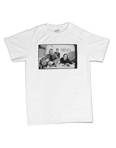 Nirvana B & W Photo Men's T-Shirt - This mens Nirvana t-shirt in white features a black and white portrait of the band printed on its front.