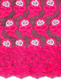 5 YARDS Voile Lace Made In Austria Fuschia Pink  Fabrics for Dress, Bridal Material/ Cotton Voile Fabrics/Suitable For Women Men/GIFT Lace Making, Pink Fabric, French Lace, African Fabric, Dressmaking, Crafts To Make, Austria, Yards, Handmade Items