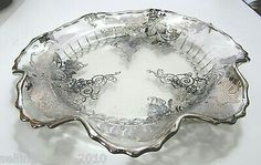 New Martinsville Radiance Fluted Plate Silver City Glass Silver Overlay