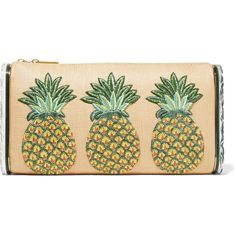 Edie Parker - Jumbo Lara Pineapple Embroidered Raffia And Acrylic Box... ($768) ❤ liked on Polyvore featuring bags, handbags, clutches, multi, embroidered handbags, lucite box clutch, pineapple purse, multi colored purses and green clutches
