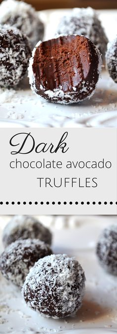Dark chocolate avocado truffles. You will LOVE these. An intense chocolate hit minus the guilt. Insidetherustickitchen.com