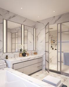 750 Custom Master Bathroom Design Ideas for 2018 Modern Bathroom Design, Bathroom Interior Design, Modern Luxury Bathroom, Ideas Baños, Penthouse For Sale, New York City Apartment, New York Homes, Beautiful Bathrooms, Simple House