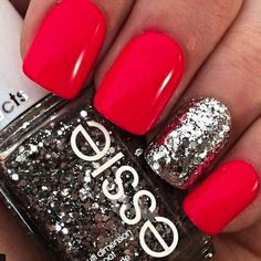 Beautiful nails 2016 Bright pink nails Bright shellac Glitter nails ideas Nails under raspberry dress Pink manicure ideas Raspberry nails Spring nail designs Fancy Nails, Love Nails, How To Do Nails, Silver Nail Designs, Cute Nail Designs, Pretty Designs, Awesome Designs, Pedicure Designs, Floral Designs