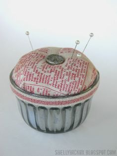 Stamptramp: Vintage Jelly Jar Pincushion + Eclectic Elements Inspiration! Use a vintage jelly jar plus Krylon Looking Glass spray paint + @Tim Holtz fabric and trims to create this cute faux mercury glass pincushion.