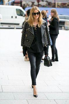 Olivia Palermo // Leather Jacket // All Black