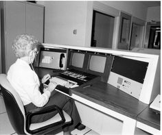 Jean Brockway, Field Accessible Computer Terminal System (FACTS) operator for the Glendale Police demonstrates this new technology, July, 1977. Glendale Central Public Library. San Fernando Valley History Digital Library.
