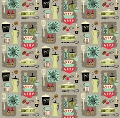 Vintage Kitchen Fabric – Kitchenette By Neryl – Mod Mid Century Retro Kitchen Cotton Fabric By The Yard With Spoonflower - All For House İdeas Retro Stil, Vintage Stil, Kitchenette, Fixer Upper, Fabric Design, Pattern Design, Retro Rocket, Kitchen Fabric, Kitchen Curtains