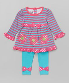 Look what I found on #zulily! Pink Flower Ruffle Tunic & Leggings - Infant, Toddler & Girls #zulilyfinds
