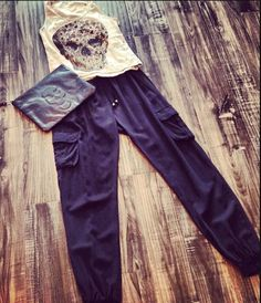 #skulls #trendy #thelook #silk #cargo #pant #thecoolestclutch #fashion #style #shop #societyfemme www.societyfemme.com