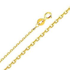 """14K Yellow Gold 0.9mm Oval Angle Cut Rolo Cable Chain Necklace with Spring Ring Clasp (Length: 20""""""""; Weight: 1 Grams approx)"""