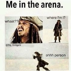 When I'm in the hunger games arena, I turn into Johnny Depp as Jack Sparrow :) Hunger Games Memes, The Hunger Games, Hunger Games Fandom, Hunger Games Catching Fire, Hunger Games Trilogy, Hunger Games Problems, Nerd Problems, Hunger Games Mockingjay, Funny Relatable Memes