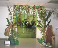 "Jungle decor I'm not sure we'll ever have this theme, but I'm IN LOVE with the ""doorway"" idea of pvc pipe!!!"