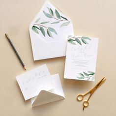 Lovely Eucalyptus Wedding Invitations   Smitten on Paper