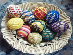 crochet easter eggs You have to scroll down the page to find these. Holiday Crochet, Easter Crochet, Crochet Home, Love Crochet, Crochet Yarn, Popular Crafts, Crochet Decoration, Crochet Ornaments, Egg Art