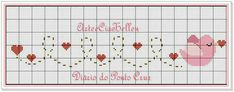 This Pin was discovered by Ayş Cross Stitch Bookmarks, Cross Stitch Heart, Cute Cross Stitch, Cross Stitch Cards, Cross Stitch Borders, Counted Cross Stitch Patterns, Cross Stitching, Cross Stitch Embroidery, Embroidery Patterns