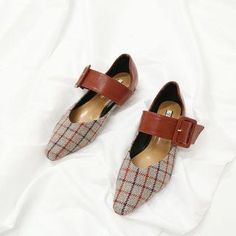 #Spring #AdoreWe #YesStyle - #MIKOGI Buckled Plaid Pointed Flats - AdoreWe.com