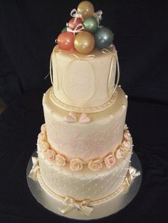 Made by Mike Goddard of Angel Cakes in Tasmania. Named for our daughter in law Vanessa on the occasion of her marriage to our son Luke. Gelatine balloons on top edible lace, stenciled and airbrushed, quilted, pink roses Gelatin Bubbles, Edible Lace, Angel Cake, Tasmania, Pink Roses, Wedding Cakes, Law, Balloons, Marriage