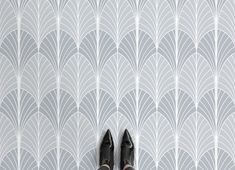 Welcome iconic Art Deco shapes and patterns to your home flooring with this bespoke Art Deco Leaf Print Vinyl Flooring, an opulent design that will up-scale your theme. Perfect for those who appreciate luxury design, the iconic tropical leaf shapes and sunburst lines offer a creative element to your interior that will impress anyone who... Read more » Premium Vinyl Flooring, Cushioned Vinyl Flooring, Patterned Vinyl, Tropical Leaves, Tropical Art, Blue Leaves, Leaf Shapes, Floor Design, Leaf Prints