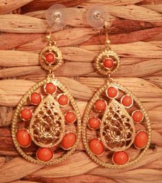 Coral Beaded Drop Earrings from Southern Jewelry Auctions on Facebook