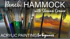 Easy acrylic painting for beginners, Beach Hammock real-time painting demo Acrylic Painting For Beginners, Simple Acrylic Paintings, Acrylic Painting Tutorials, Beginner Painting, Acrylic Painting Canvas, Your Paintings, Circle Painting, Time Painting, Vintage Photography