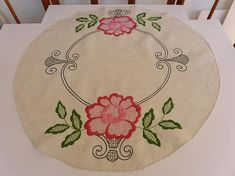 Small 33 Round Embroidered Linen Tablecloth