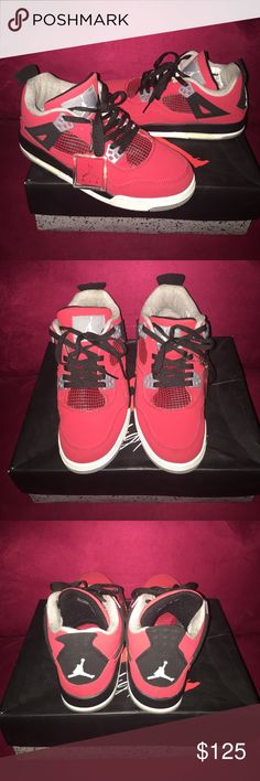 Jordan 4 Retro, Size 8 In excellent condition. Bright red and black. Size 8. Comes with box. Jordan Shoes Athletic Shoes