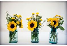 sunflowers in mason jars rustic wedding