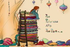 Princess and the pea fine print by TinyWhimsyThings on Etsy Hans Christian, Princess And The Pea, Little Princess, Nursery Rhyme Characters, Free Motion Embroidery, Stories For Kids, Illustrations And Posters, Nursery Rhymes, Once Upon A Time