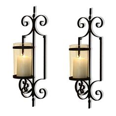 Cast Iron Vertical Wall Hanging Accents Candle Holder Sconce (Set of 2) Black Traditional Glass Metal Unknown Candle Wall Decor, Wall Candle Holders, Candle Wall Sconces, Candle Stand, Candle Set, Glass Candle, Clear Glass, Hanging Candles, Pillar Candles
