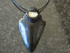 Megalodon Fossil Shark Tooth pendant with Quartz Crystal