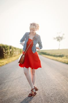 red scalloped dress, jean jacket