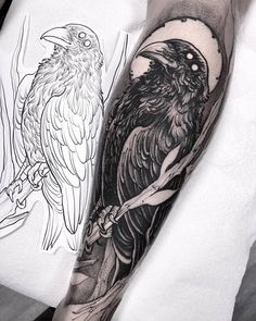 35 ideas tattoo designs drawings sleeve birds for 2019 Crow Tattoo Design, Tattoo Design Drawings, Tattoo Designs Men, Forearm Tattoos, Body Art Tattoos, Sleeve Tattoos, Tattoo Arm, Lower Leg Tattoos, Trendy Tattoos