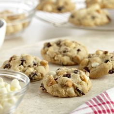 chocolate chip cookies, with the addition of cranberries, white chocolate chips and macadamia nuts.