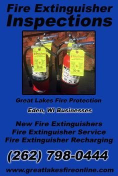 Fire Extinguisher Inspections Eden, WI (262) 798-0444 Discover the Complete Source for Fire Protection Equipment and Service.. We're Great Lakes Fire Protection!! Call us Today!