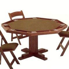 """Kestell Furniture 52"""" Pedestal Base Poker Table Upholstery: Red Felt, Finish: Ranch Oak"""