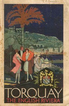Torquay - The English Riviera - Vintage Travel Poster. Torquay definitely isn't corny or boring! Posters Uk, Poster Ads, Railway Posters, Vintage Travel Posters, Vintage Advertisements, Vintage Ads, Funny Vintage, Party Vintage, Agatha Christie